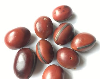 Red Hamburger Sea Bean Beads