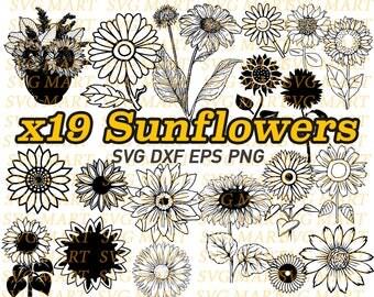 sunflower svg, flower clipart, floral, stencil, silhouette, decal, vinyl, cricut, cut files, mongram