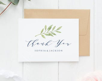 Navy Blue, Thank You Card, Wedding Thank You, Thank You Card Template, Thank You Printable, Folded, Tented, PDF Instant Downlod, LDS_215