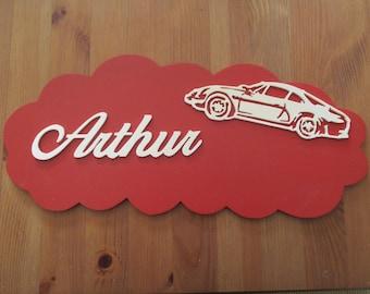 placard with alpine red door