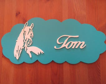blue door with customizable horse