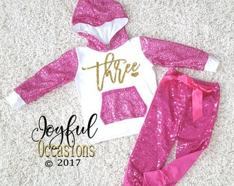 3rd Birthday Pants Outfit - Cute Hot Pink Sequin Toddler Girl Glitter Birthday Hoodie & Pants Set For Three Year Olds Winter Birthday Party