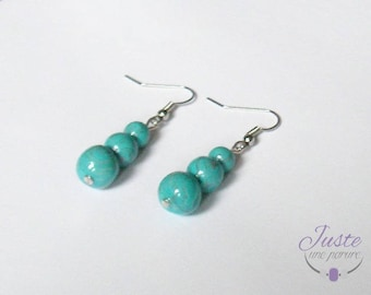 Polymer clay, 3 beads, blue and silver dangling earrings