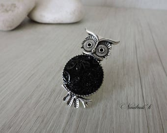 OWL ring and black cabochon