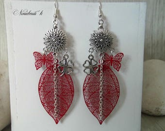 Red dangle earrings with prints