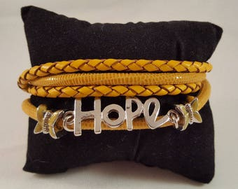 Wrap bracelet made of nappa leather, smooth and braided, hope, butterflies, stainless steel carabiner closure, yellow