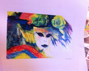 Painting with oil pastels Venetian mask