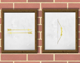 Arrow Bow pair PDF. Four PDF Files for four posters. Golden and Black colors. Minimalist, Printable, Modern art. Printable Trending Wall Art