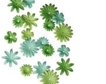 36 RAYHER green paper flowers