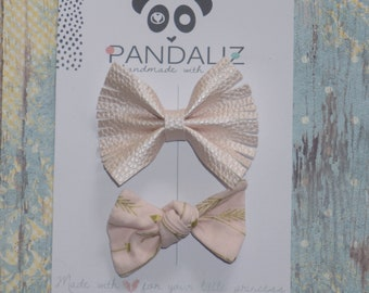 Gold and pink bows