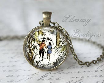 Chronicles of Narnia, Lucy & Mr Tumnus C. S. Lewis, The Lion The Witch And The Wardrobe Illustration, Narnia Necklace or Keyring, Keychain.