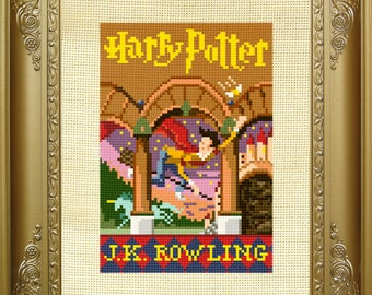 Harry Potter cross stitch pattern // sorcerers stone book cover