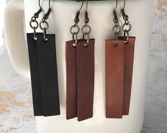 Leather Dangle Earrings/Leather Earrings /HGTV Joanna Gaines inspired Earrings/Leather Bar Earrings Fixer Upper