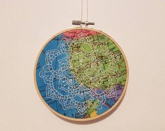 Mandala map hoop art embroidery