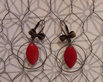 Enamel and brass dangle earrings