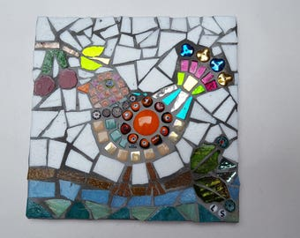 Bird and cherries mosaic tile