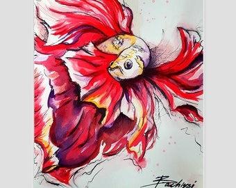 RED Queen betta fish - original watercolor painting