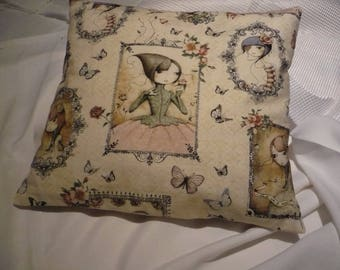 cotton fabric pillow and linen back