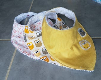Set of 3 bibs bandanas - 0/2 years