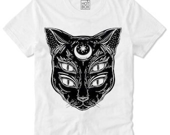 T Shirt HOTBOX Hipster Cat Katze Trippy Swag Dope Tumblr Moon psychedelic