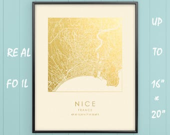 """Nice 16""""x20"""" City Map Gold & Silver Print, Real Gold Foil, Nice Square City Map Poster, Nice Gift, Carte de la ville, France, GoldenGraphy"""