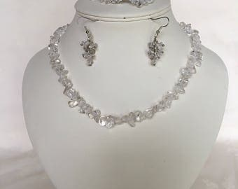 Rock Crystal Gemstone Chip Necklace, Bracelet and Earrings Set