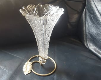Vintage glass trumpet shaped vase with e.p.n.s. stand