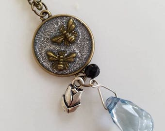 Bumble Bees Antiqued Bronze Tone Resin Pendant with Tulip Charm and Beads