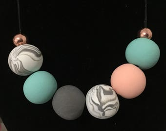 Handmade beads with mint green & peach polymer clay adjustable necklace