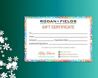 Rodan and Fields Gift Certificate, Fast Personalized, Rodan + Fields Independent Consultant, Rodan and Fields Business Cards, RF01