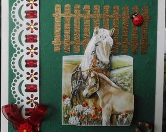 card 3D Mare and foal
