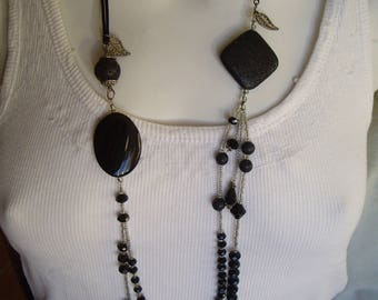 Long necklace of black lava, black agate stone, black glass beads