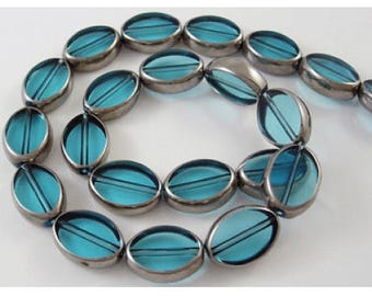 Set of 10 glass beads oval, blue & silver, 11 x 8 mm, 4 mm, hole 1 mm thick