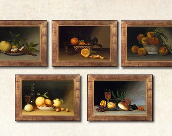 Still life print Classic Still Life Fruit still life Print on canvas Wall Décor Home décor Office décor Fine Art Print Set of 5 Food art