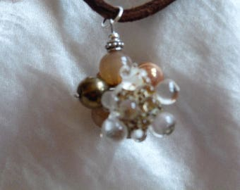 Brown tones glass beads pendant necklace