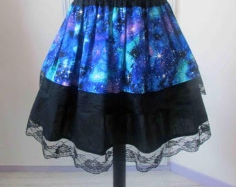 Multicolor galaxy skirt