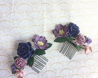 Deep tones floral comb: purple, mauve, and navy