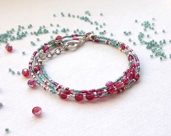Bracelet multi-row fuchsia, erinite green, silver