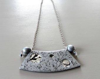 Original black and grey bib necklace