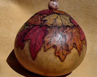 Autumn Leaves Hand Carved Gourd