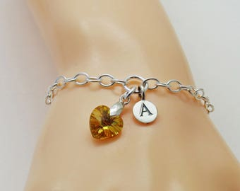 Crystal Heart Bracelet, Personalized Initial Birthstone Bracelet, Heart Bracelet, Custom Initial Bracelet, Topaz Heart  Birthday Gift
