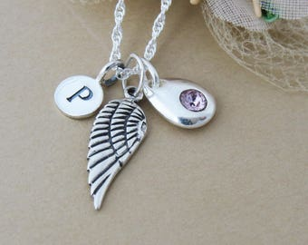 Silver Wing Necklace, Gift idea for Women, Girls Personalized Necklace, Sterling Silver Angel Necklace, Silver Birthstone Initial Necklace