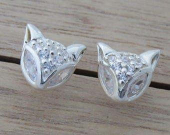 Sterling Silver Fox Stud Earrings, Sterling Silver Fox Earrings, Fox studs, Fox Jewelry, Rhinestone Fox Stud Earrings