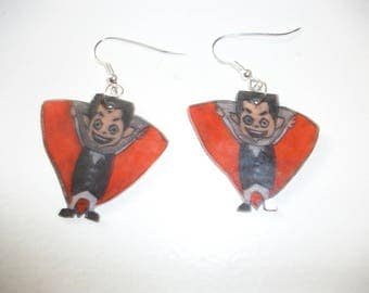 Halloween earring. Black and Red ghost. Child's Dracula.