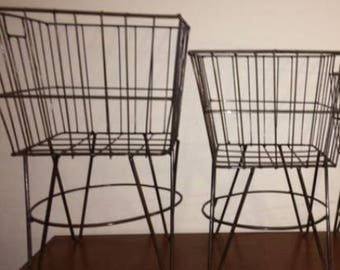 Recycled Metal Large and Medium Iron Laundry Baskets - Set of 2 - Bronze