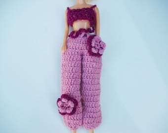 Barbie fashion doll clothes: pants ball pink and plum top