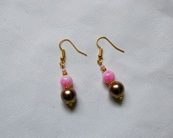 Earrings roses and golden brown