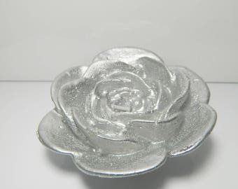 Silver Flower candle