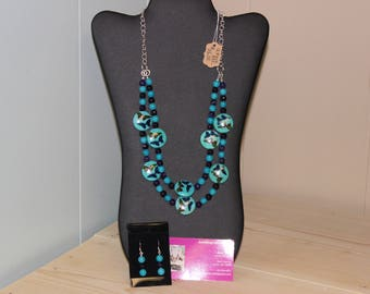 Butterflies and Beads.  Double Lower Loop.  with Earrings.  2 piece set