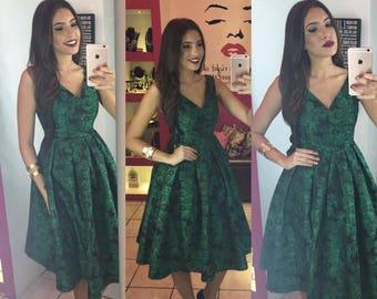 Green & Black Combo Midi-Dress by Autentica Boutique